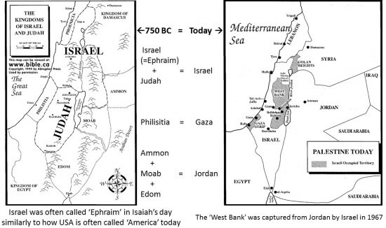 Map of Israel + Judah and surrounding countries in 750 BC (1st Temple Period) vs. map of Israel and countries of today